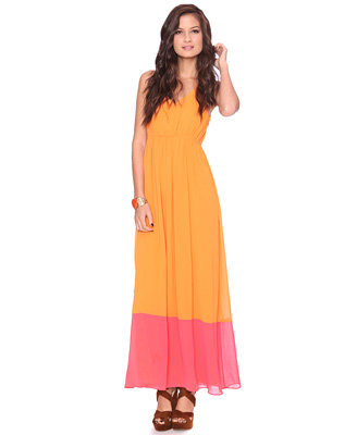 The sherbet-hued color combo on this dress is so pretty for Spring.  Forever 21 Colorblock Maxi Dress ($30)