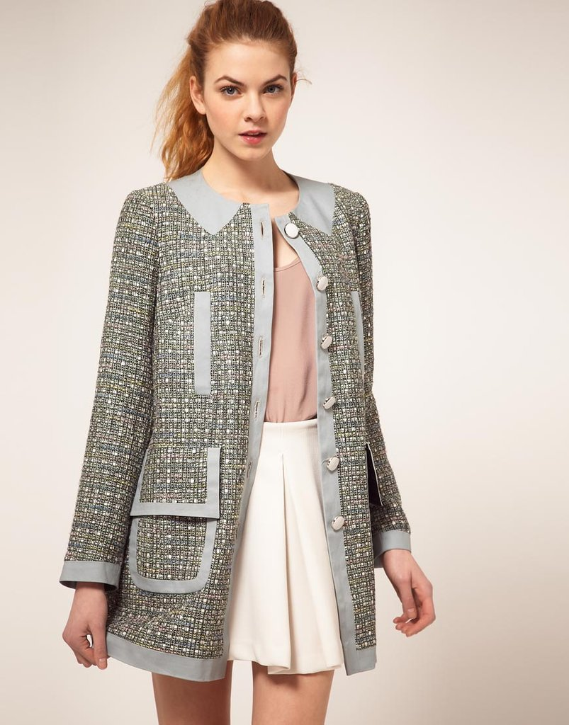ASOS Dolly coat in pastel color block ($134)