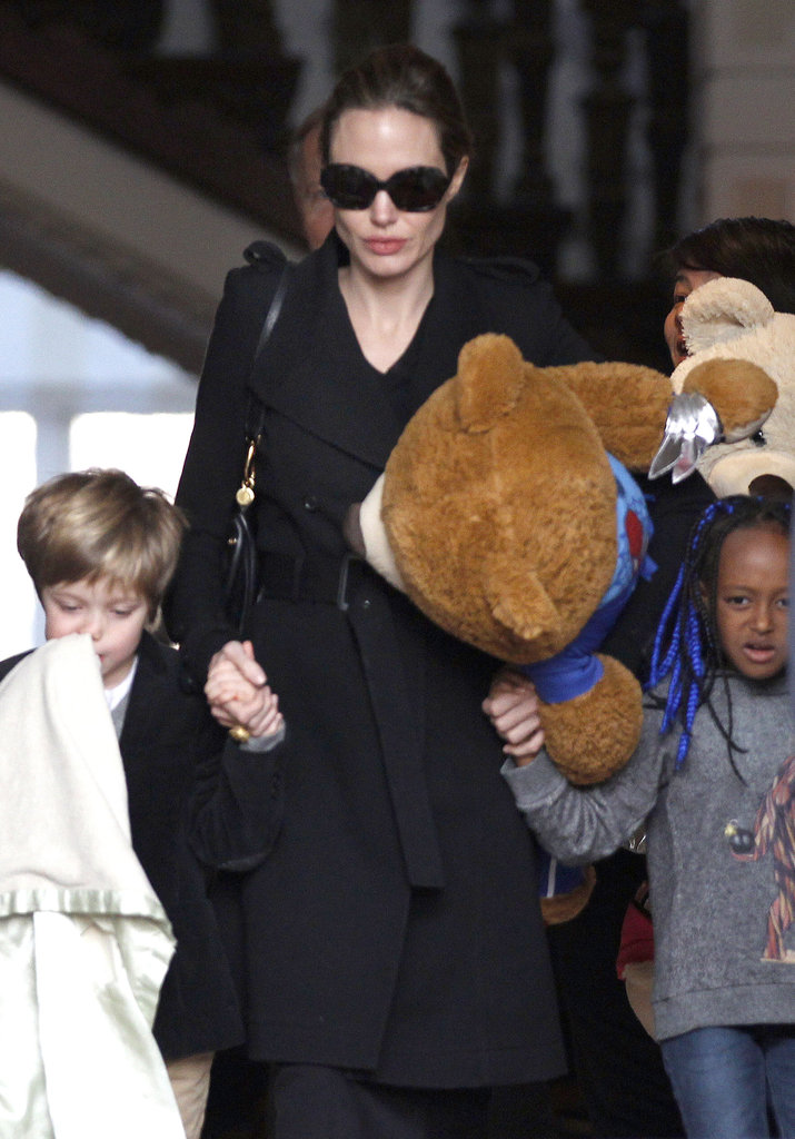 Angelina Jolie with Shiloh and Zahara in Amsterdam.