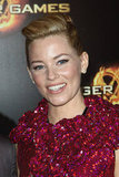 Elizabeth Banks poses at The Hunger Games premiere in Paris.