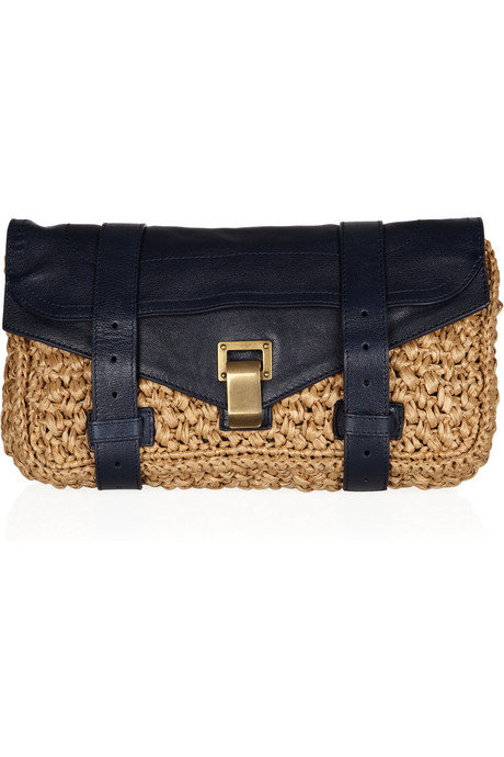 Proenza Schouler PS1 Raffia and Leather Clutch ($950)