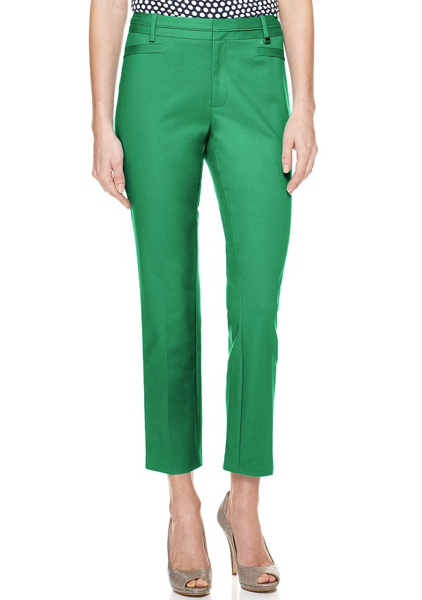 Style this green pair with a thin navy blouse and brown oxfords for a chic geek appeal.  Calvin Klein Straight Leg Cropped Pants ($70)
