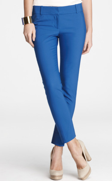 Inject a jolt of color into your wardrobe with these cobalt blue cropped pants, then finish off with a floral blouse and ankle strap sandals.  Ann Taylor Doubleweave Crop Pants ($88)