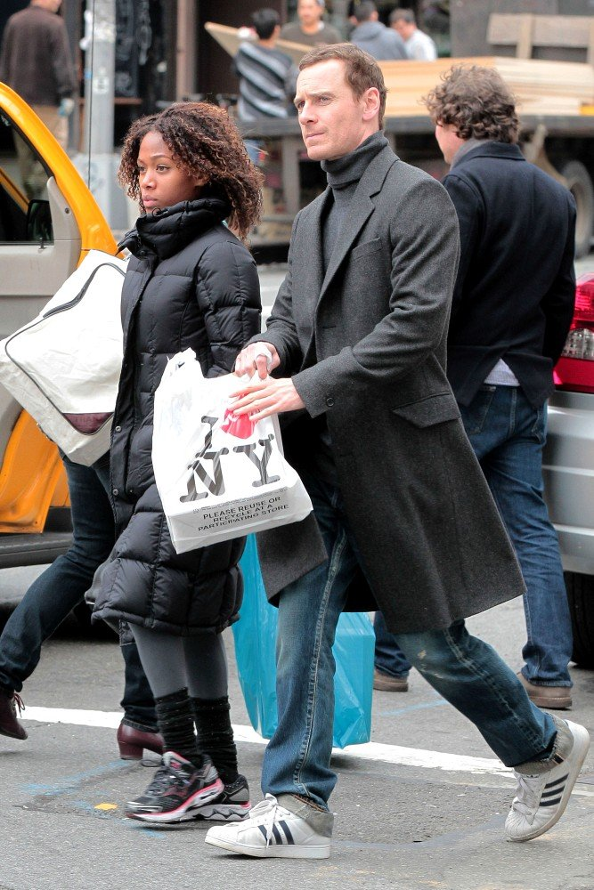 Michael Fassbender and Nicole Beharie take a stroll in NYC.