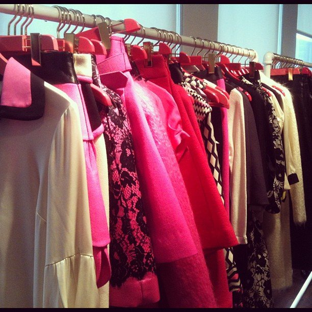 We got a sneak peek of Milly's covetable Fall goodies — hot pink and a dash of leather.