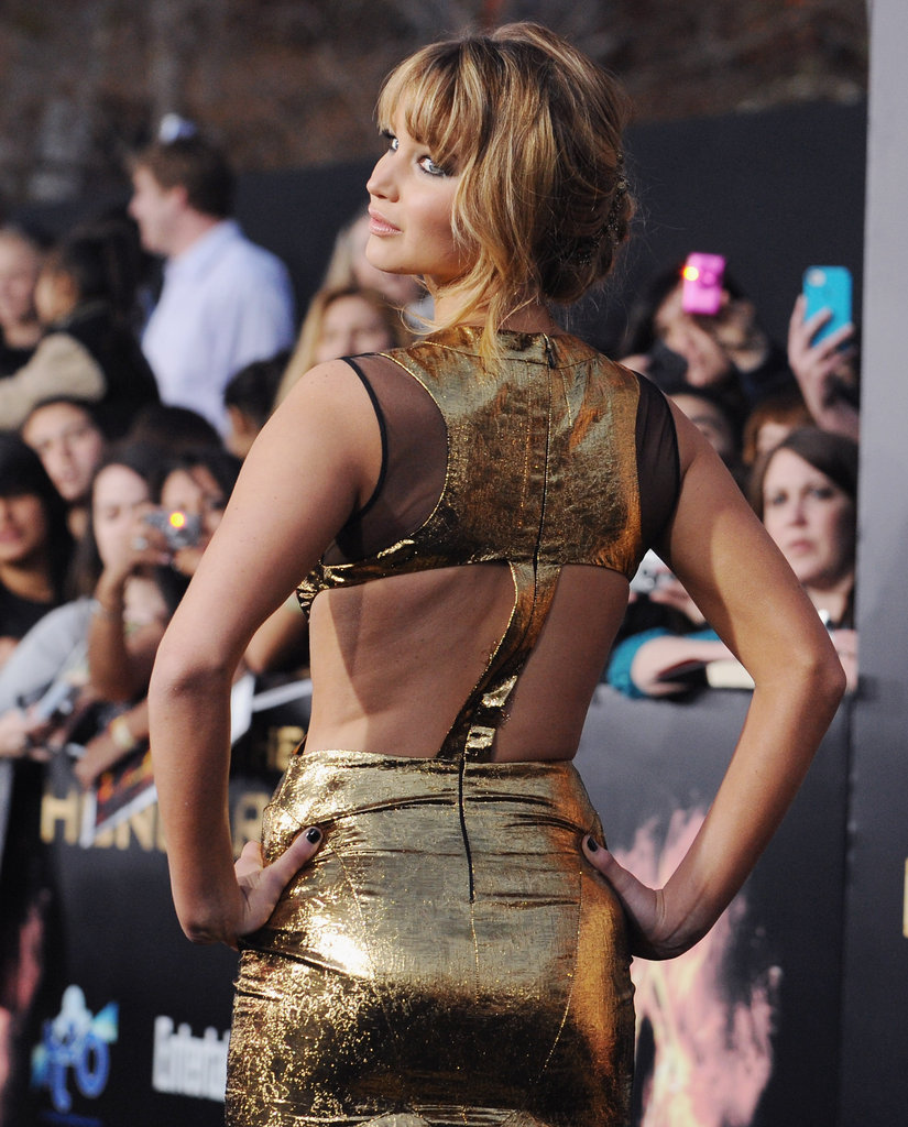 A zoomed-in look at the back detailing of Jennifer Lawrence's Prabal Gurung dress.