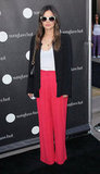 Rachel Bilson stepped out for Sunglass Hut party in LA in Spring bright trousers by Isabel Marant and her go-to Vanessa Bruno blazer.
