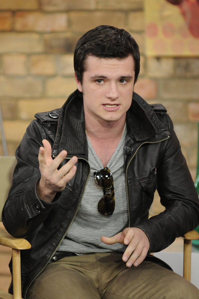 Josh Hutcherson wore a casual leather jacket in Toronto.
