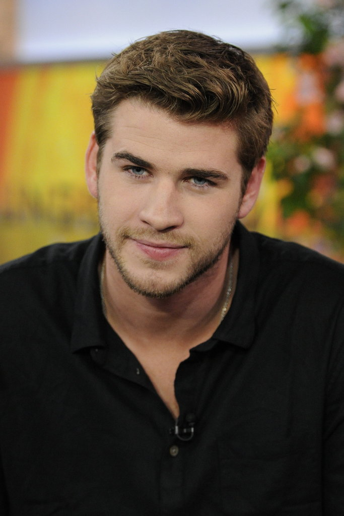Liam Hemsworth wore a casual henley for his latest morning show appearance.