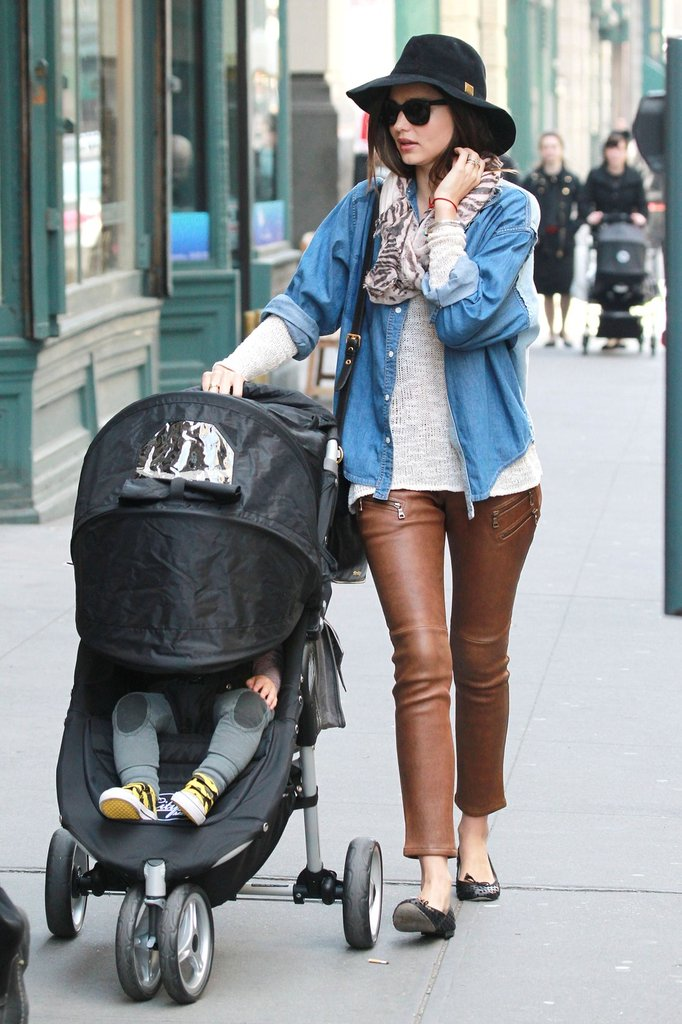 Miranda Kerr takes Flynn for a stroll around NYC.