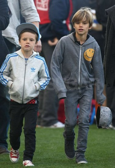 Cruz and Romeo Beckham at the LA Galaxy game.