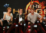 Jennifer Lawrence, Josh Hucherson, and Liam Hemsworth chatted with fans in LA in March.