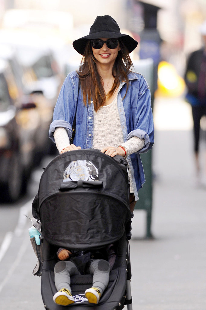 Miranda Kerr out in NYC with Flynn.