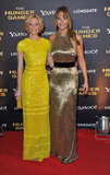 Jennifer Lawrence and Elizabeth Banks looked glamorous at the London premiere.