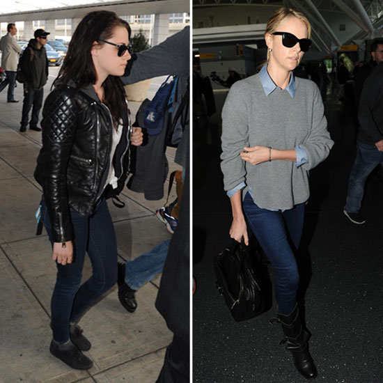 Kristen Stewart and Charlize Theron Jet Out of JFK Together