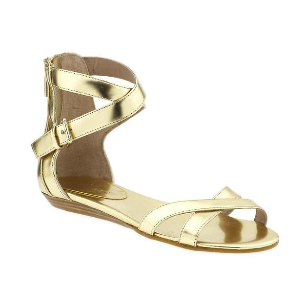 Patent gold leather dresses up this two-strap sandal. Bettina by Rebecca Minkoff in Gold Spechio ($125)