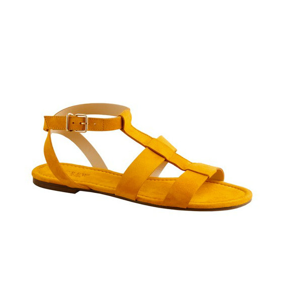 Everyone deserves at least one pair of statement sandals in their closet, and these sunny sandals are the perfect introduction to Spring.  J.Crew Olympia Suede Sandals in Bright Marigold ($128)