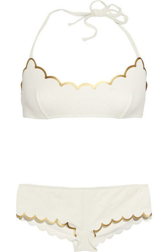 Chlo|Scalloped halterneck bikini|NET-A-PORTER.COM