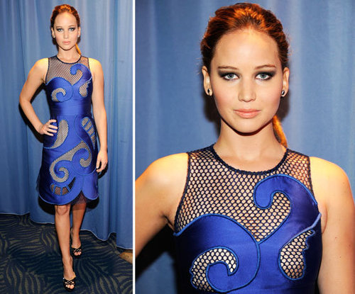 Jennifer Lawrence in Blue Viktor & Rolf