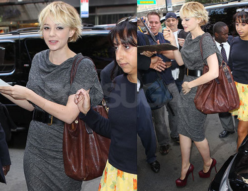 Carey Mulligan in Gray Shift Dress