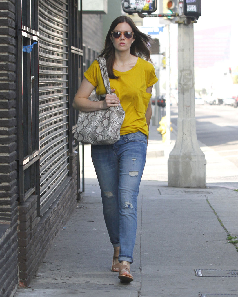Mandy Moore gave her distressed Current/Elliott jeans a Springy vibe with a daffodil yellow top.
