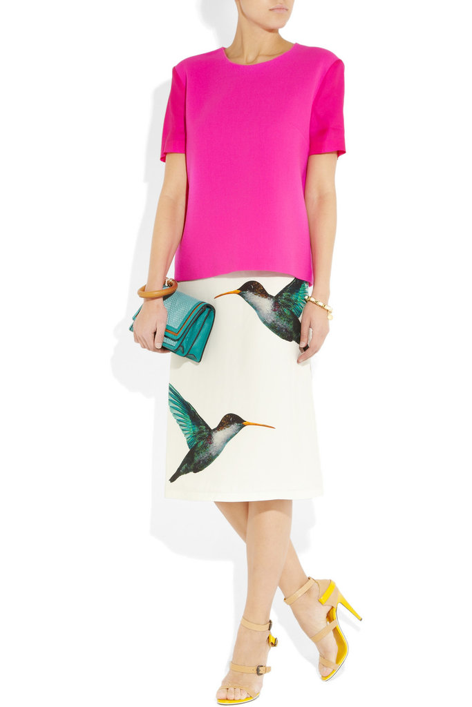 We love the whimsical hummingbird print on this Jil Sander skirt.  Jil Sander Lapis Hummingbird Skirt ($1,170)