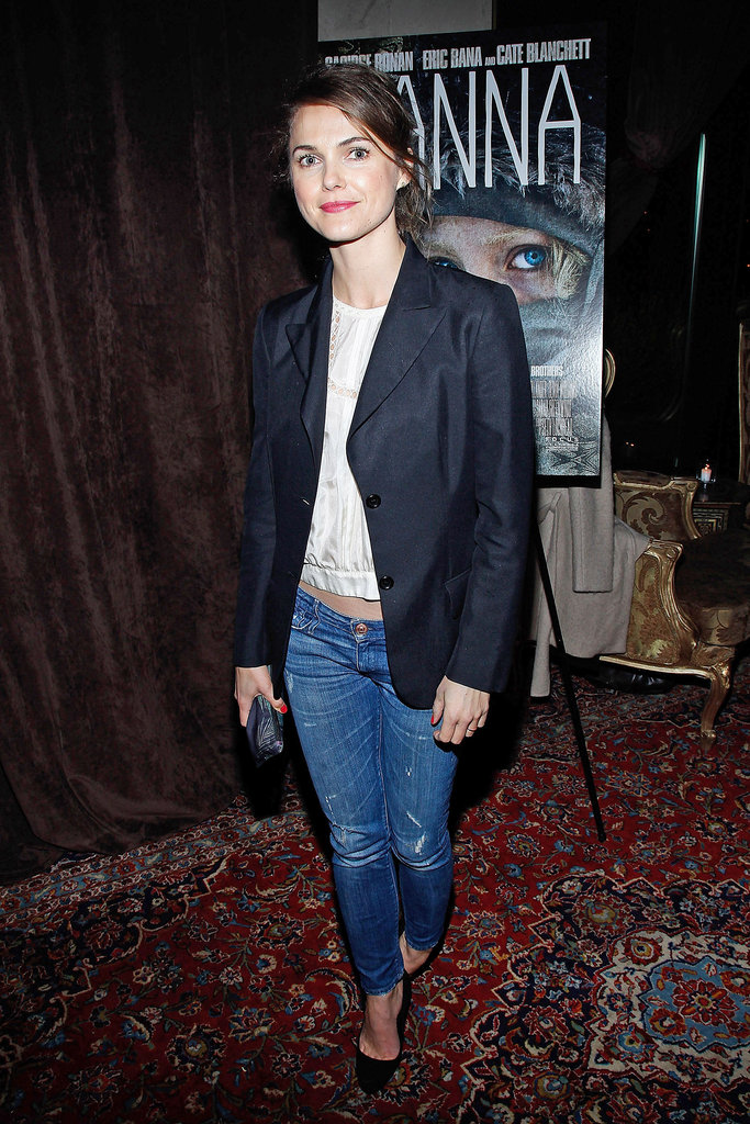 Keri Russel channeled evening elegance — yes, in denim — with a blazer and classic heels.
