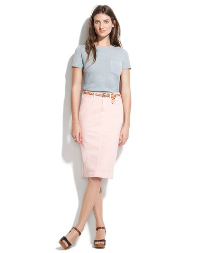 A light pink pencil skirt that's simultaneously casual and chic.  Madewell Garment Dyed Pencil Skirt ($88)
