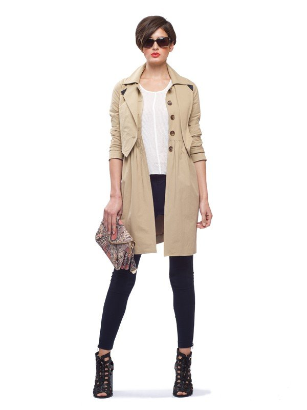 We love the special silhouette on this version; with a fitted top, this coat was built to flatter a woman's frame.  Rebecca Minkoff Pierre Long Trench ($438)
