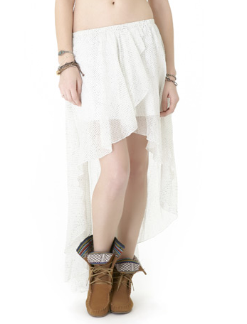 Pair this high-low skirt with a slinky tank and cute sandals for an ethereal festival ensemble.  Lamb & Flag Printed Voile Cascade Skirt ($58)