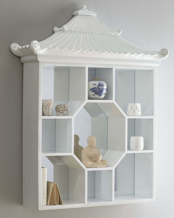 White Pagoda Vitrine Wall Shelf ($695)