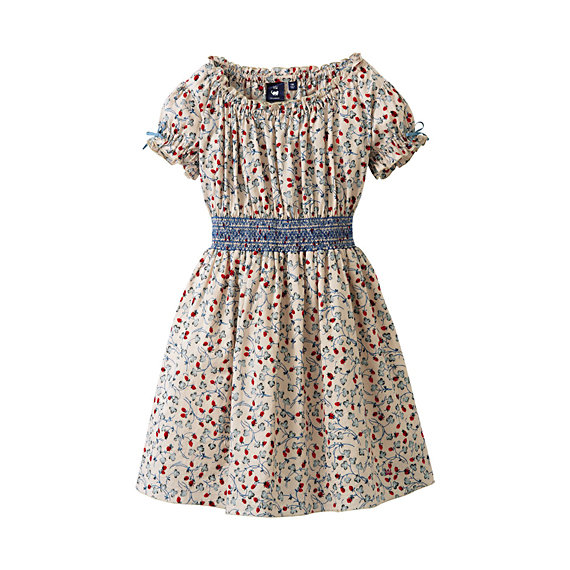Short-Sleeved Gathered Dress ($50)