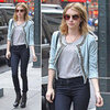 Emma Roberts Blue Embellished Jacket