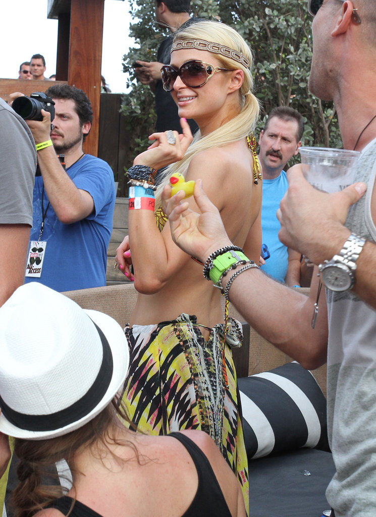 Paris Hilton hung out in Miami by the pool.