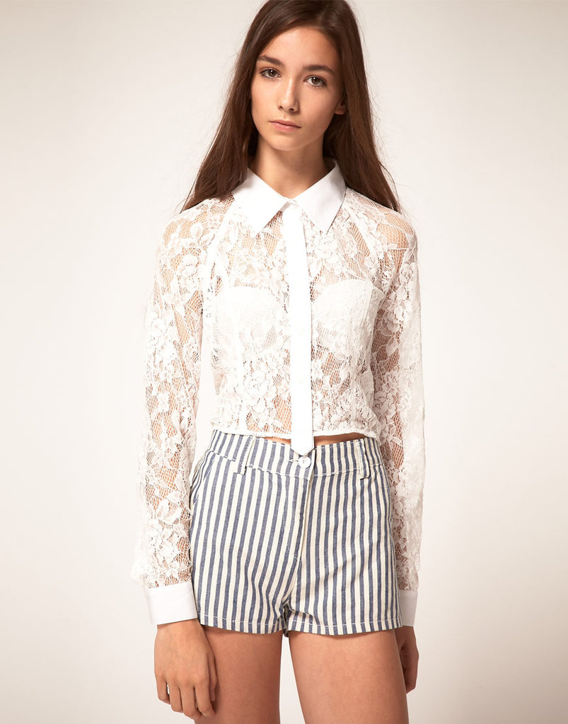 We love that you could play this piece sexy or sweet, depending on your mood.  Finders Keepers Cropped Lace Shirt ($135)