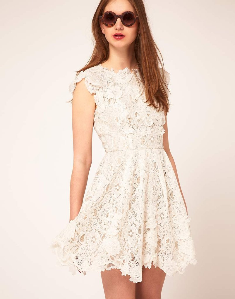 The prettiest version of the skater dress we've ever seen; take this to your music festival dates with a pair of flat sandals or out to dinner with heels.  Asos Lace Skater Dress with Applique Detailing ($153)