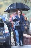 Emma Watson sported combat boots on set.