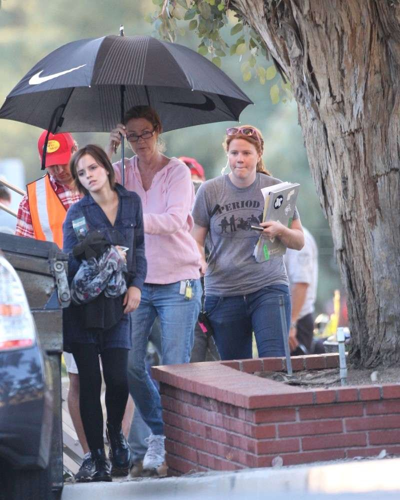 Emma Watson was followed by production staff.