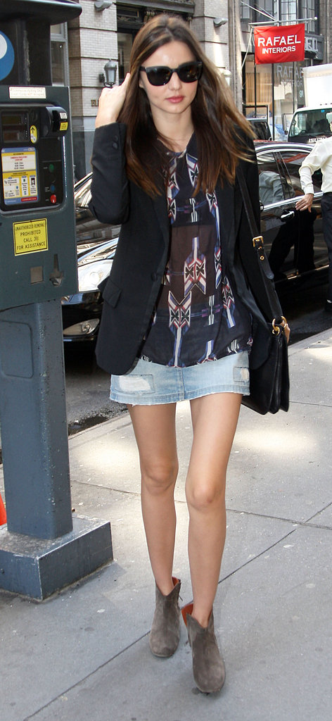 Miranda Kerr may just be single-handedly bringing back the denim miniskirt.