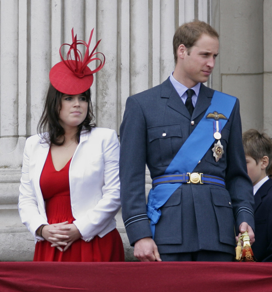 Eugenie and older cousin William watch the fly-past as they attend the annual Trooping the Colour ceremony on June 12, 2010.