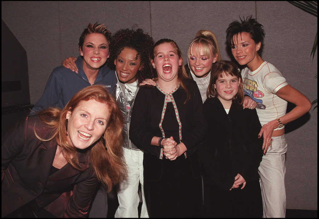 Eugenie isn't quite as excited as her sister to meet the Spice Girls in 1999.