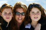 Eugenie, her mother, and sister enjoy skiing in Switzerland in 2004.
