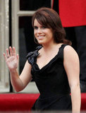 Princess Eugenie waves to photographers last April.
