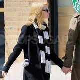 Emma Stone wore a striped scarf.