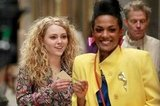 AnnaSophia Robb and Freema Agyeman hang out in NYC on the set of The Carrie Diaries.