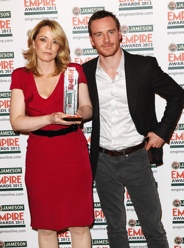 Anna Malmhake and Michael Fassbender at the Jameson Empire Awards in London.
