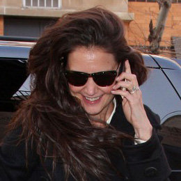 Katie Holmes Smiling on Her Cell Phone in NYC Pictures