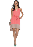 Bar III Dress, Sleeveless Crew Neck Keyhold Colorblocked Tie A Line ($69)
