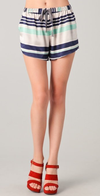 We love the bold stripes and track short silhouette.  Elizabeth and James Striped Ozzy Shorts ($265)