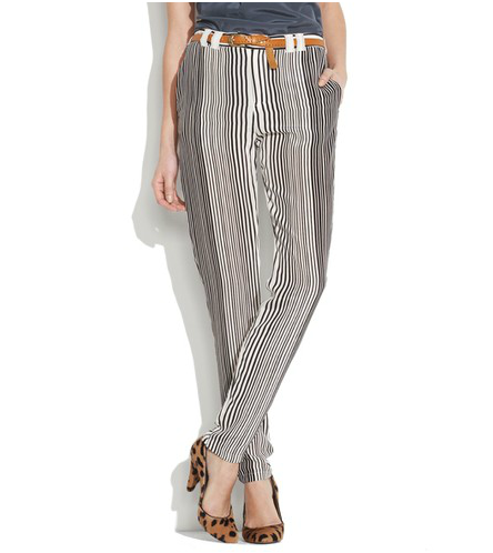 Belive it or not, these striped trousers are ultra-flattering and look amazing with a pair of Chucks and a white tee.  Madewell Pinstriper Silk Pants ($125)